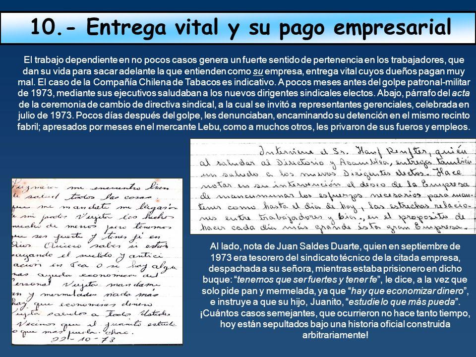 10.- Entrega vital y su pago empresarial