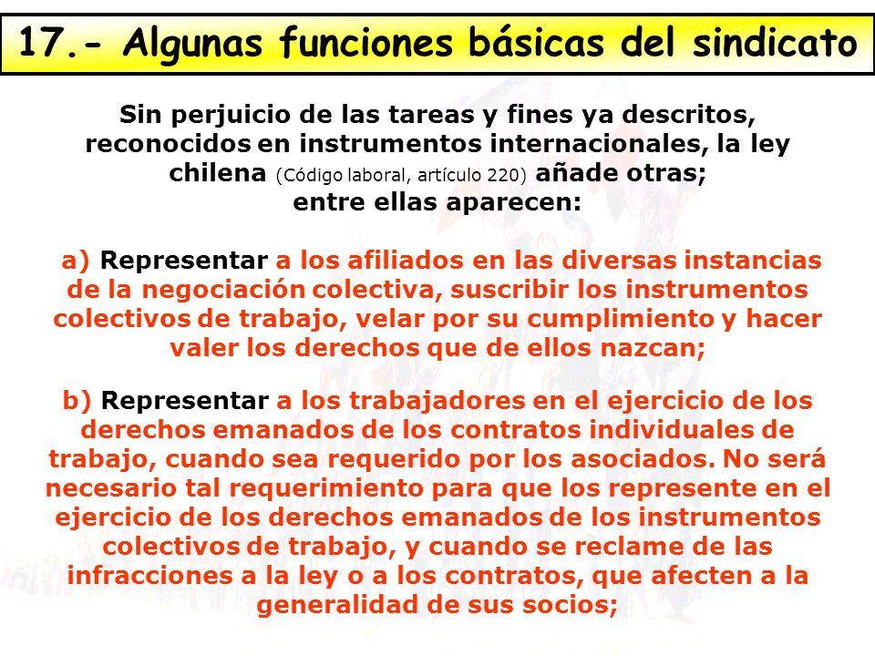 17.- Algunas funciones básicas del sindicato