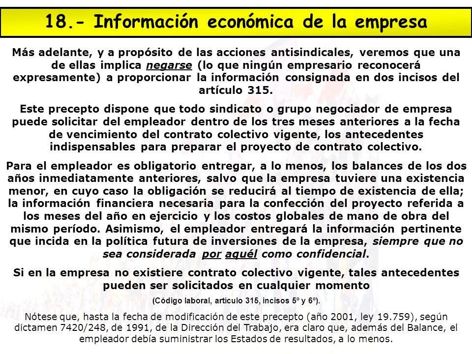 18.- Información económica de la empresa