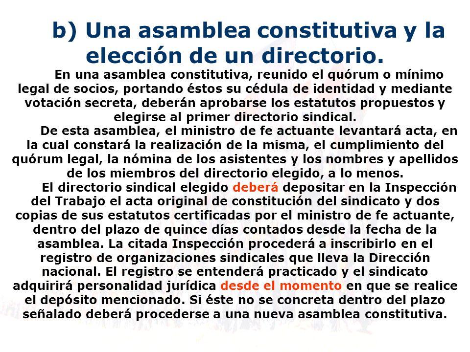 b) Una asamblea constitutiva y la elección de un directorio.