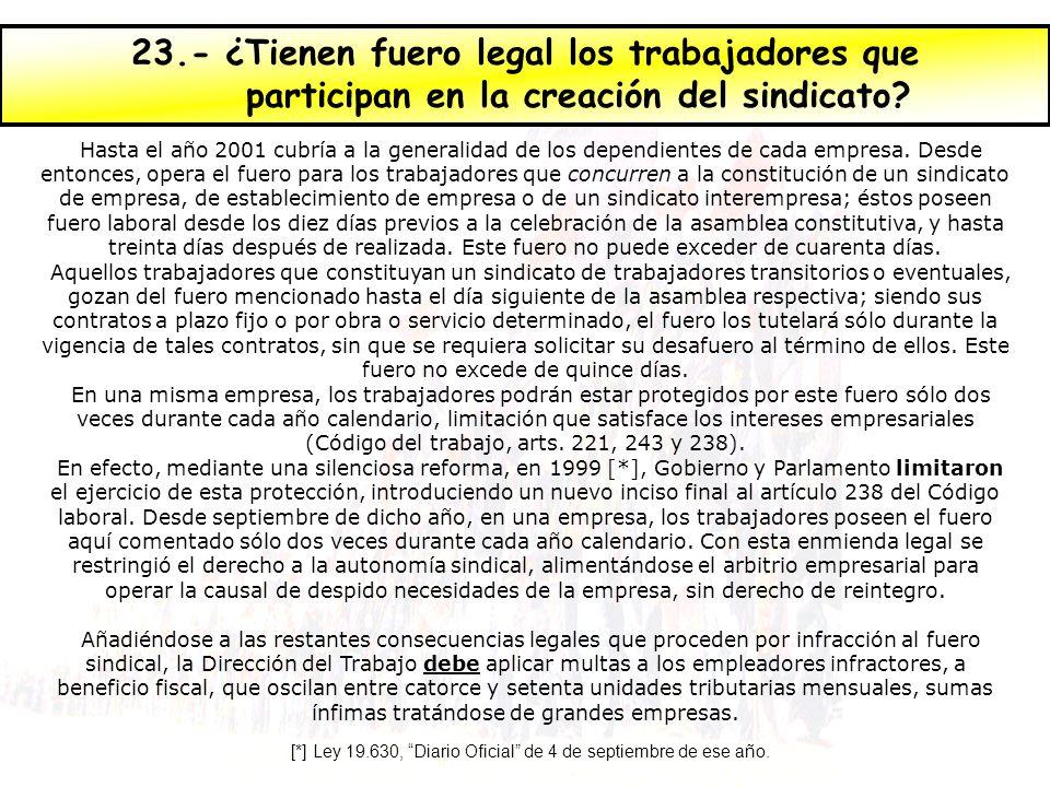 23.- ¿Tienen fuero legal los trabajadores que