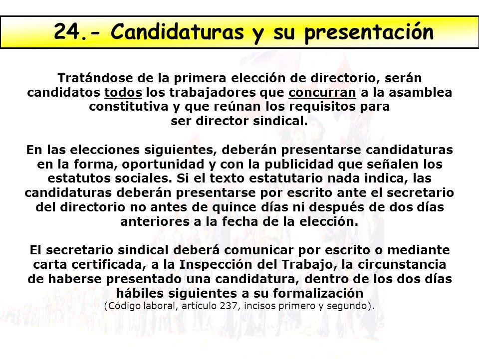 24.- Candidaturas y su presentación