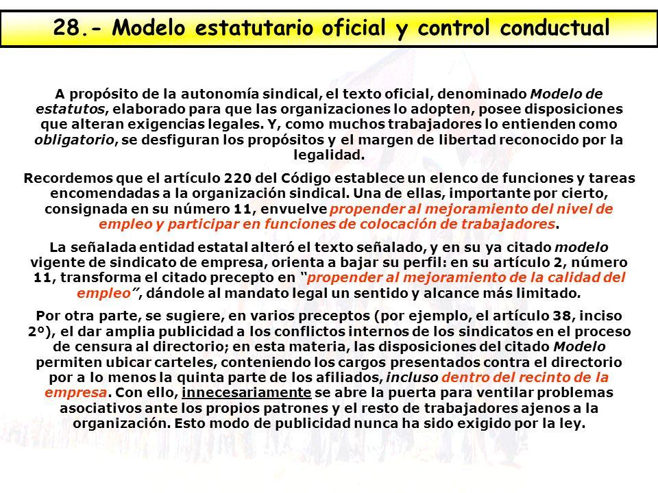 28.- Modelo estatutario oficial y control conductual