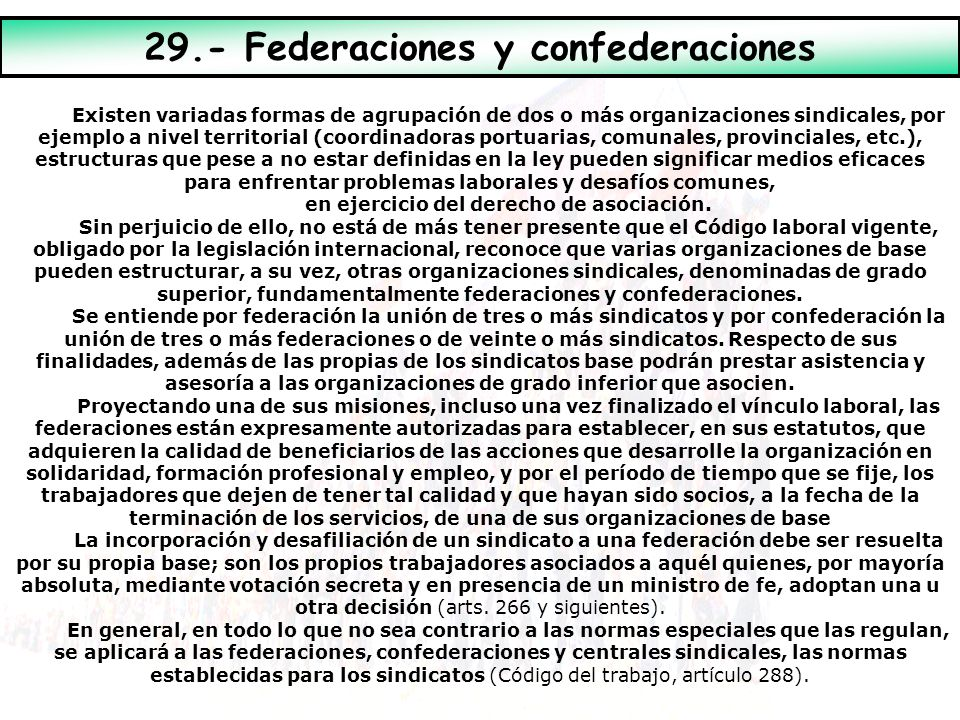 29.- Federaciones y confederaciones