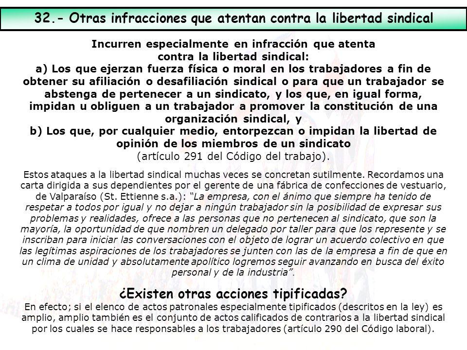 32.- Otras infracciones que atentan contra la libertad sindical