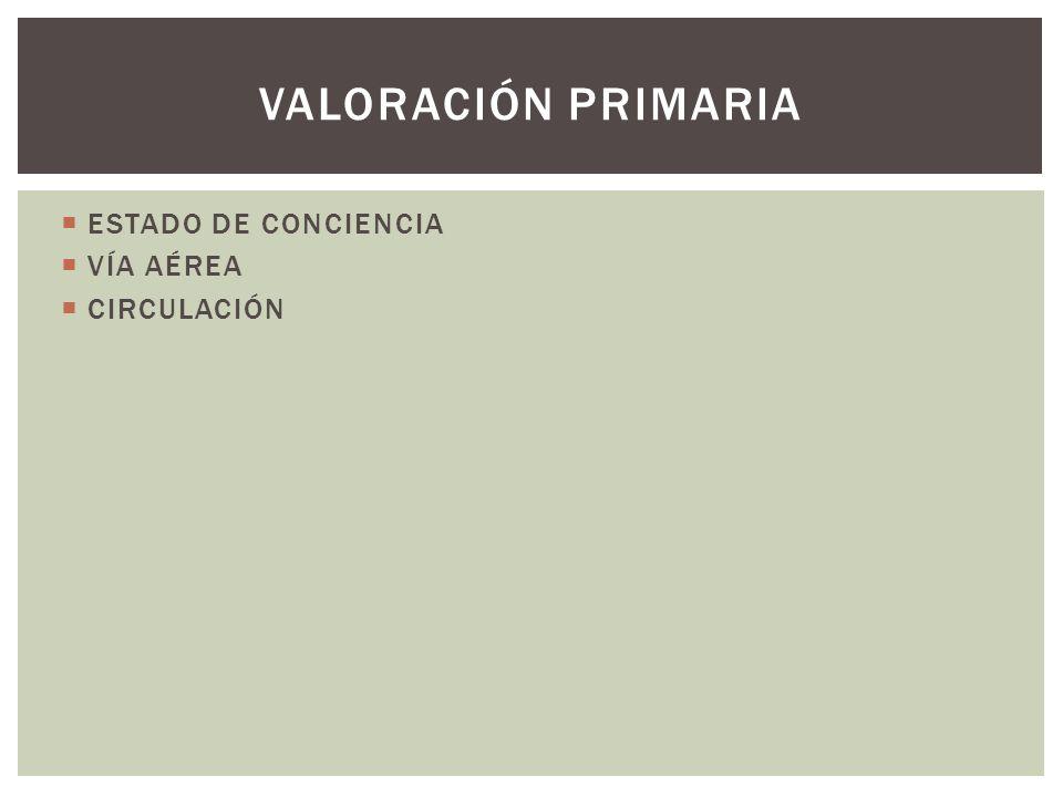 VALORACIÓN PRIMARIA ESTADO DE CONCIENCIA VÍA AÉREA CIRCULACIÓN