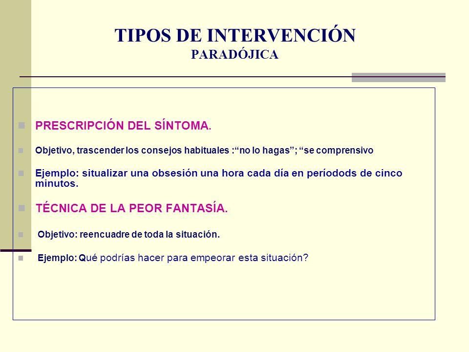 TIPOS DE INTERVENCIÓN PARADÓJICA