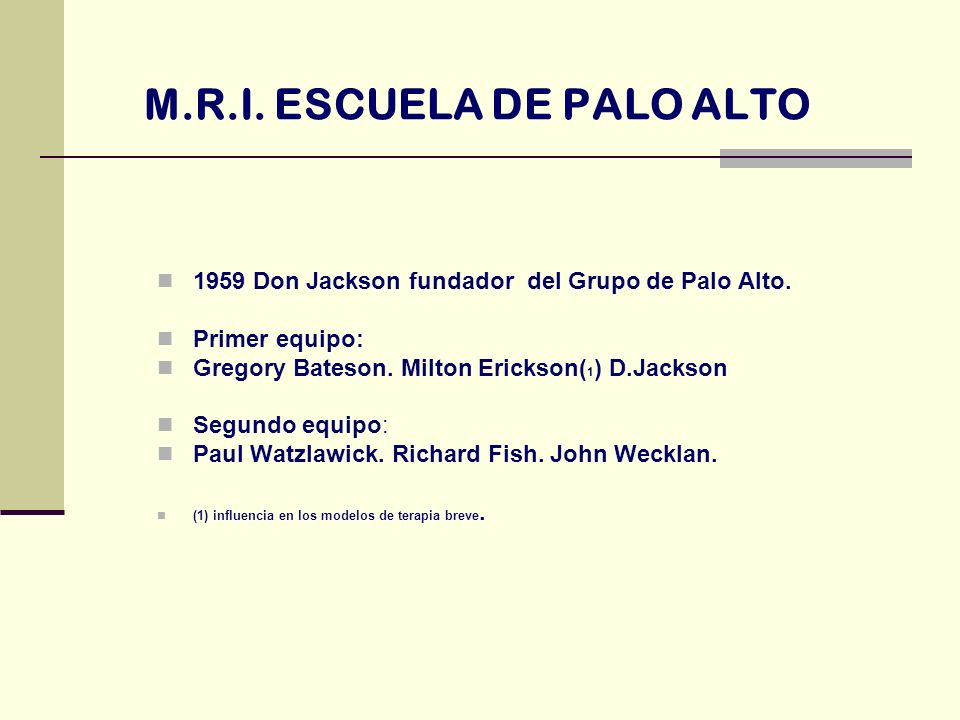 M.R.I. ESCUELA DE PALO ALTO