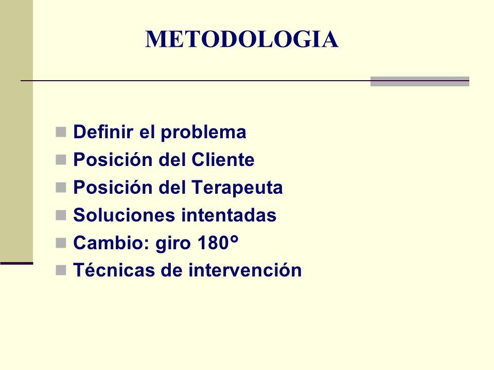 METODOLOGIA Definir el problema Posición del Cliente