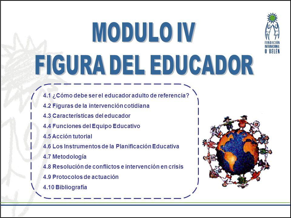 MODULO IV FIGURA DEL EDUCADOR. 4.1 ¿Cómo debe ser el educador adulto de referencia 4.2 Figuras de la intervención cotidiana.