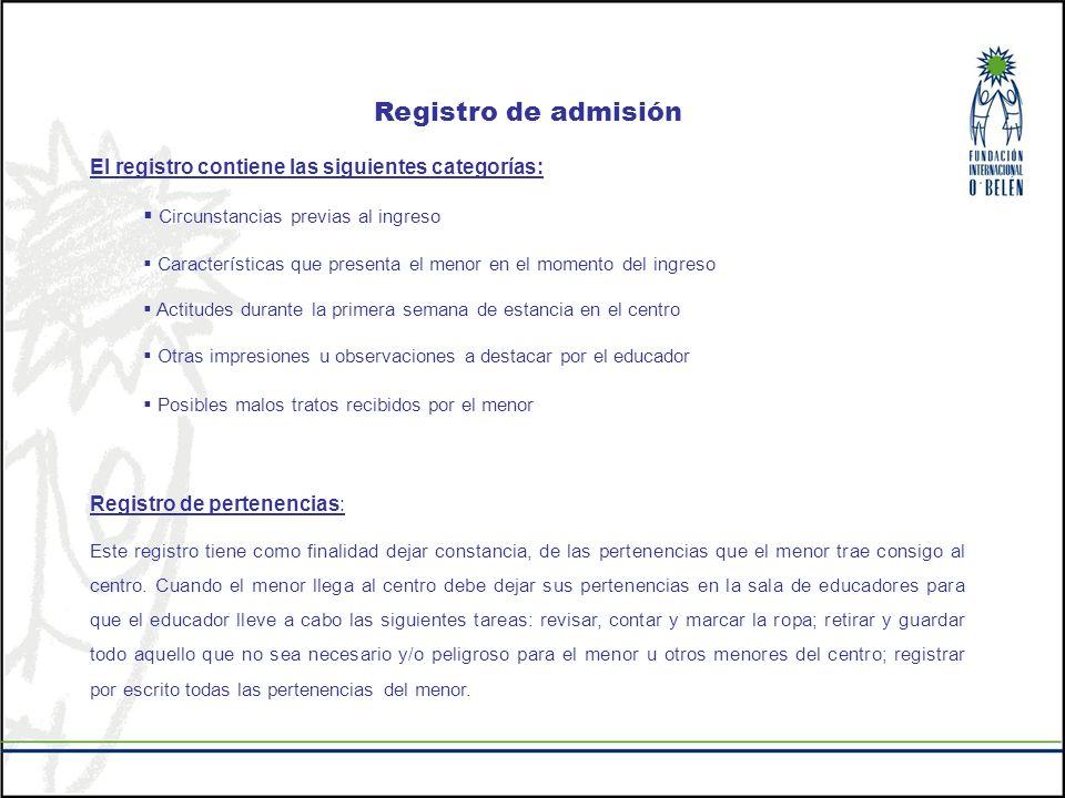 Registro de admisión El registro contiene las siguientes categorías: