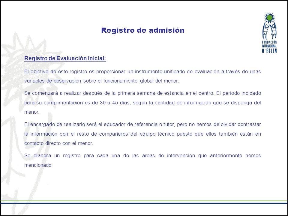 Registro de admisión Registro de Evaluación Inicial: