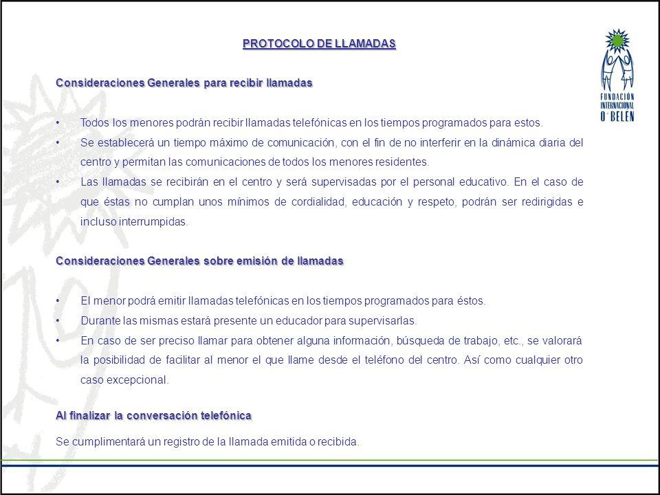 PROTOCOLO DE LLAMADAS Consideraciones Generales para recibir llamadas.