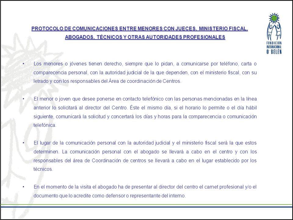 PROTOCOLO DE COMUNICACIONES ENTRE MENORES CON JUECES, MINISTERIO FISCAL, ABOGADOS, TÉCNICOS Y OTRAS AUTORIDADES PROFESIONALES