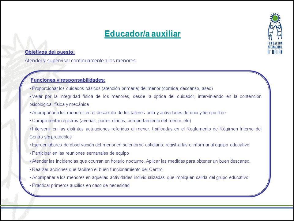 Educador/a auxiliar Objetivos del puesto: