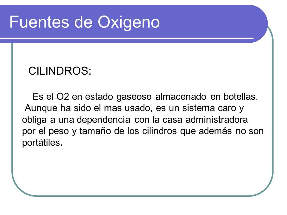 Fuentes de Oxigeno Es el O2 en estado gaseoso almacenado en botellas.