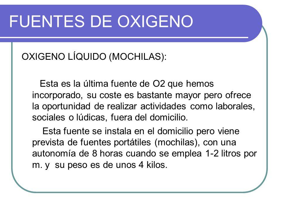 FUENTES DE OXIGENO OXIGENO LÍQUIDO (MOCHILAS):