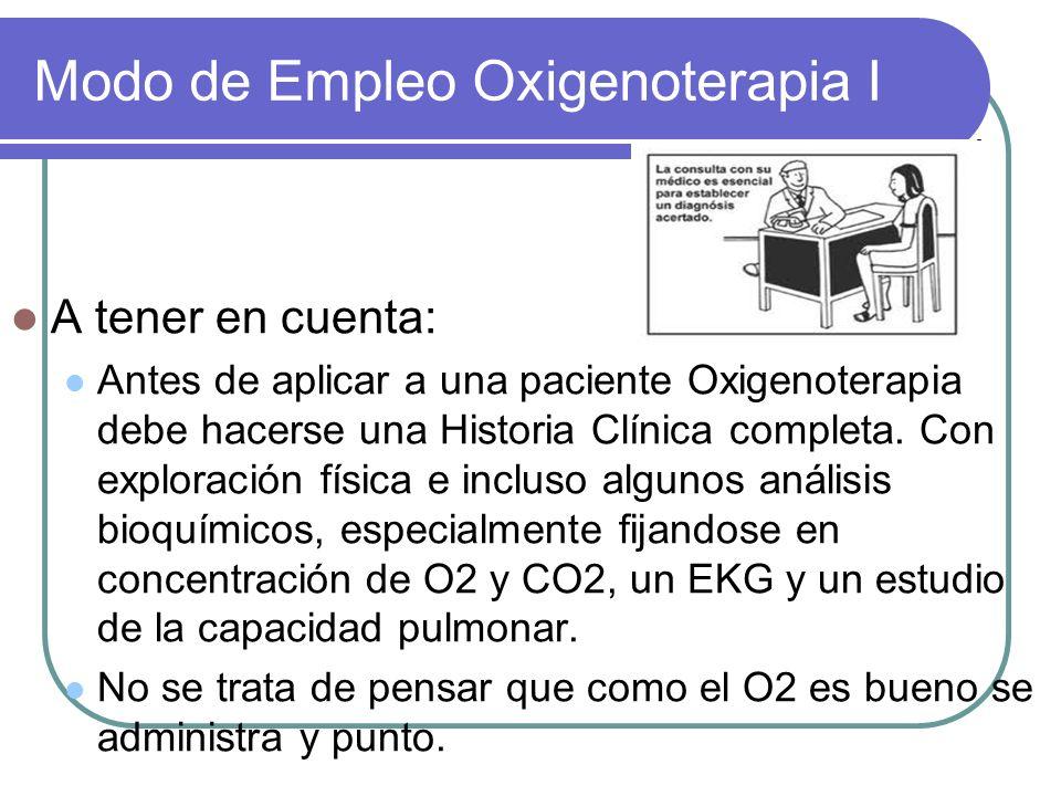 Modo de Empleo Oxigenoterapia I