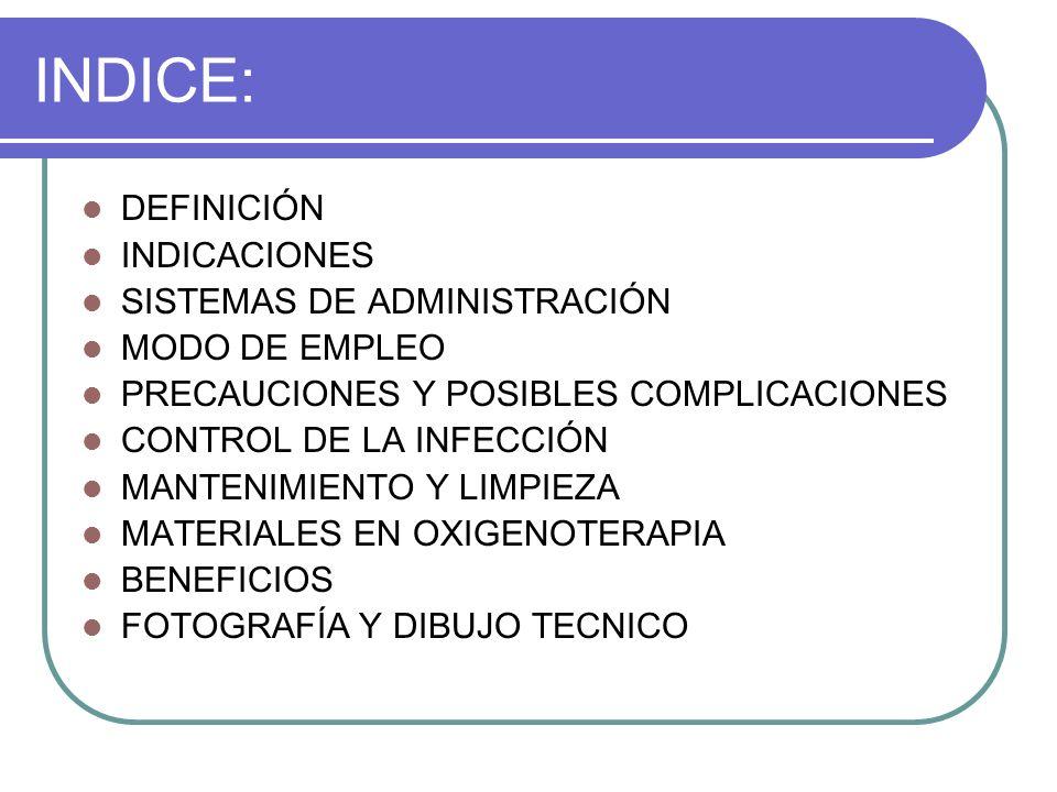 INDICE: DEFINICIÓN INDICACIONES SISTEMAS DE ADMINISTRACIÓN