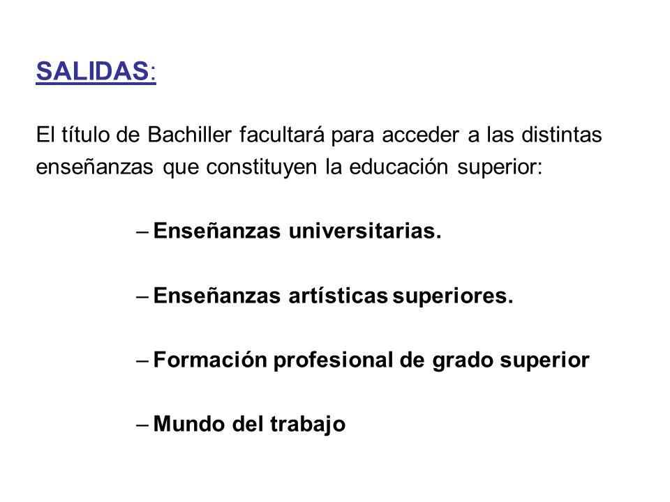 SALIDAS: El título de Bachiller facultará para acceder a las distintas