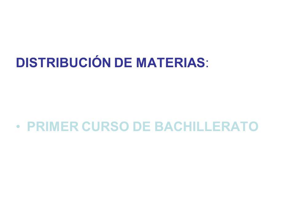 DISTRIBUCIÓN DE MATERIAS: