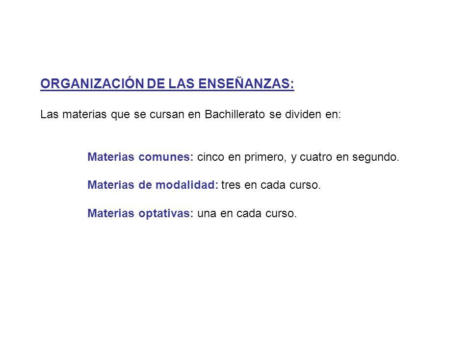 ORGANIZACIÓN DE LAS ENSEÑANZAS: Las materias que se cursan en Bachillerato se dividen en: Materias comunes: cinco en primero, y cuatro en segundo.