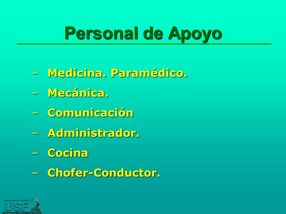 Personal de Apoyo Medicina. Paramédico. Mecánica. Comunicación