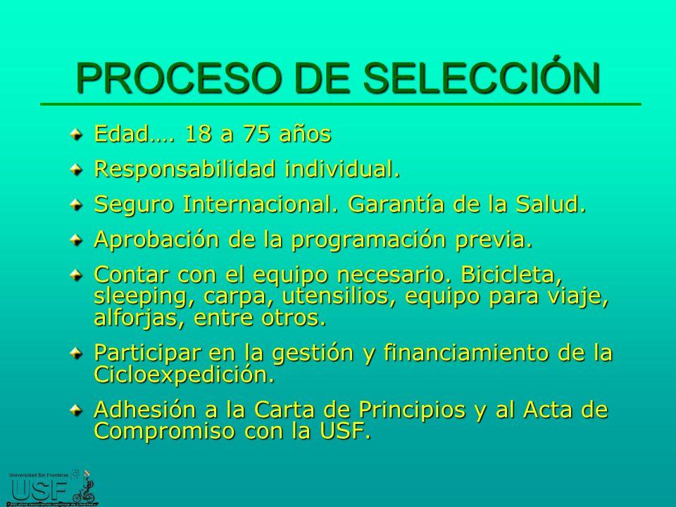 PROCESO DE SELECCIÓN Edad…. 18 a 75 años Responsabilidad individual.