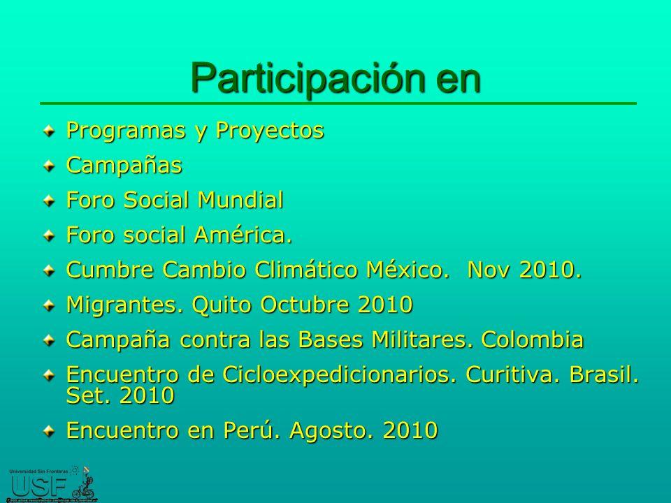 Participación en Programas y Proyectos Campañas Foro Social Mundial