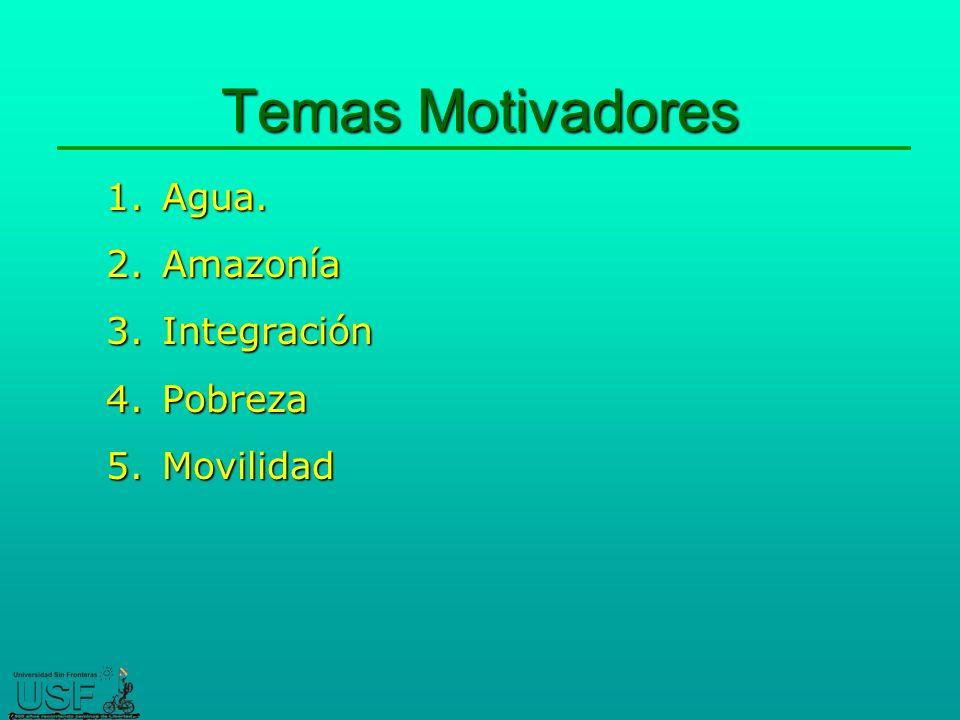 Temas Motivadores Agua. Amazonía Integración Pobreza Movilidad