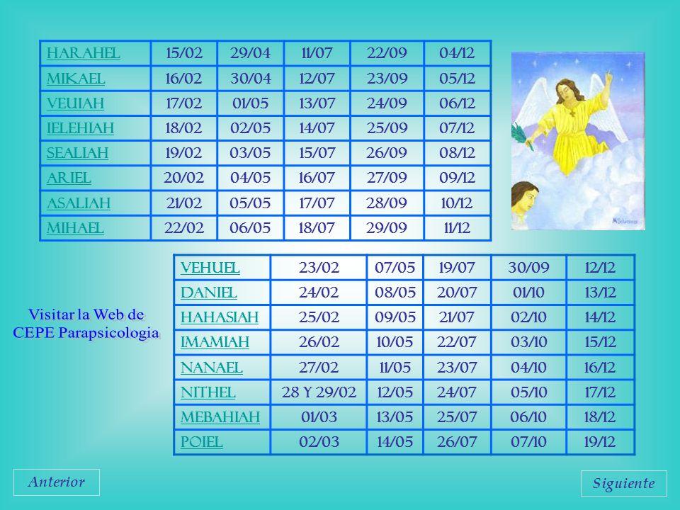 Visitar la Web de CEPE Parapsicologia Harahel 15/02 29/04 11/07 22/09