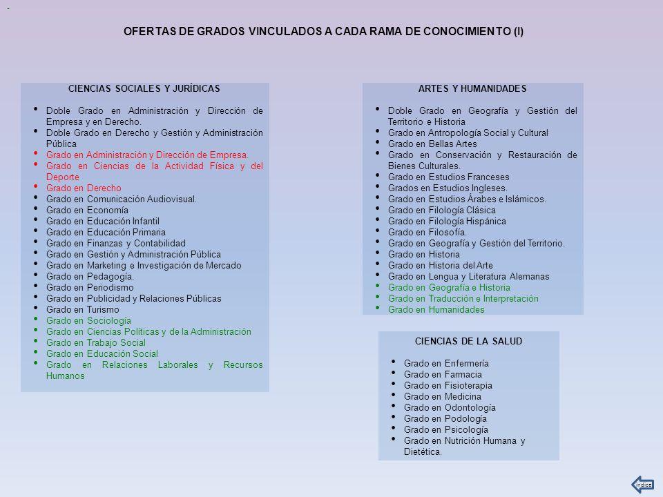 OFERTAS DE GRADOS VINCULADOS A CADA RAMA DE CONOCIMIENTO (I)