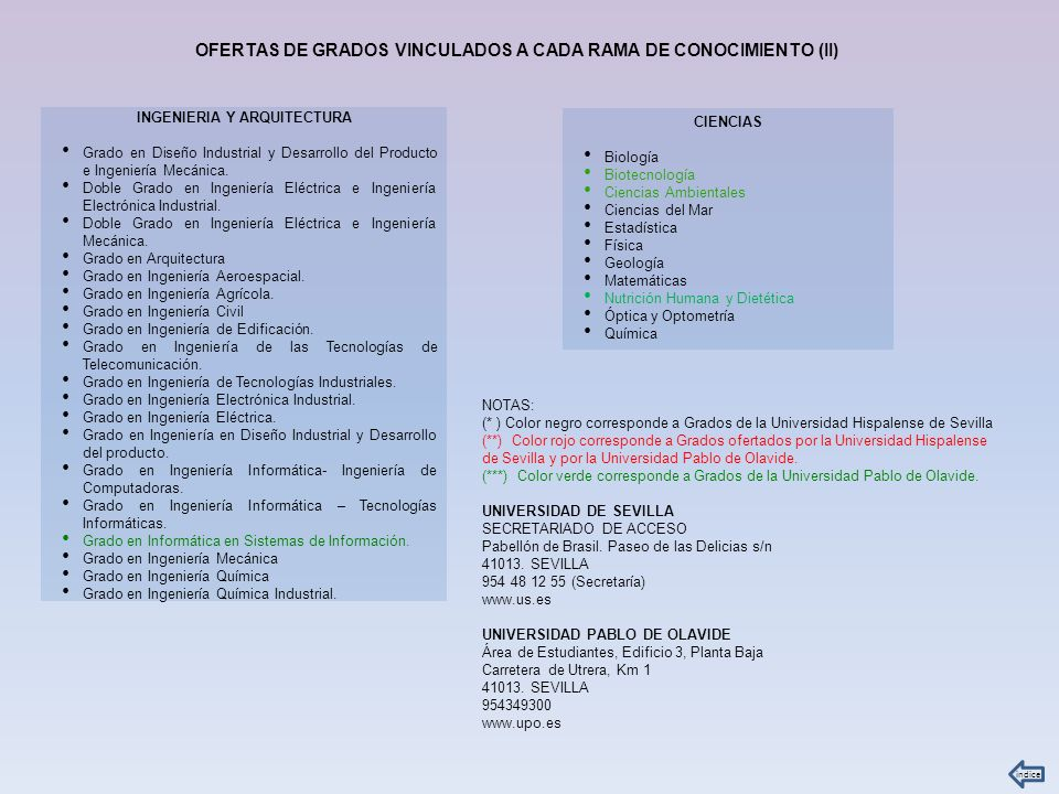 OFERTAS DE GRADOS VINCULADOS A CADA RAMA DE CONOCIMIENTO (II)