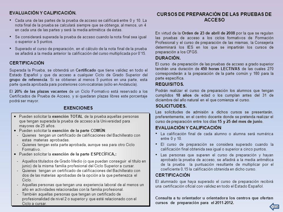 CURSOS DE PREPARACIÓN DE LAS PRUEBAS DE ACCESO
