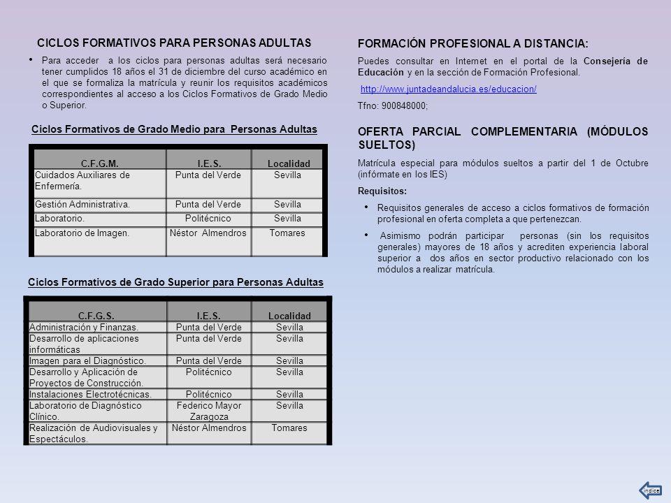 CICLOS FORMATIVOS PARA PERSONAS ADULTAS