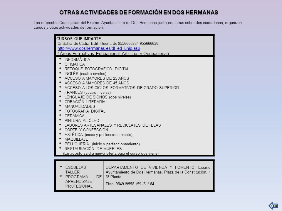 OTRAS ACTIVIDADES DE FORMACIÓN EN DOS HERMANAS