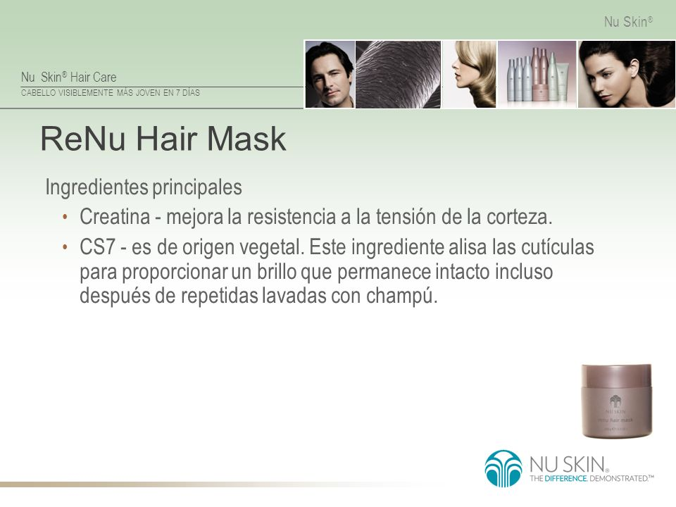 ReNu Hair Mask Ingredientes principales