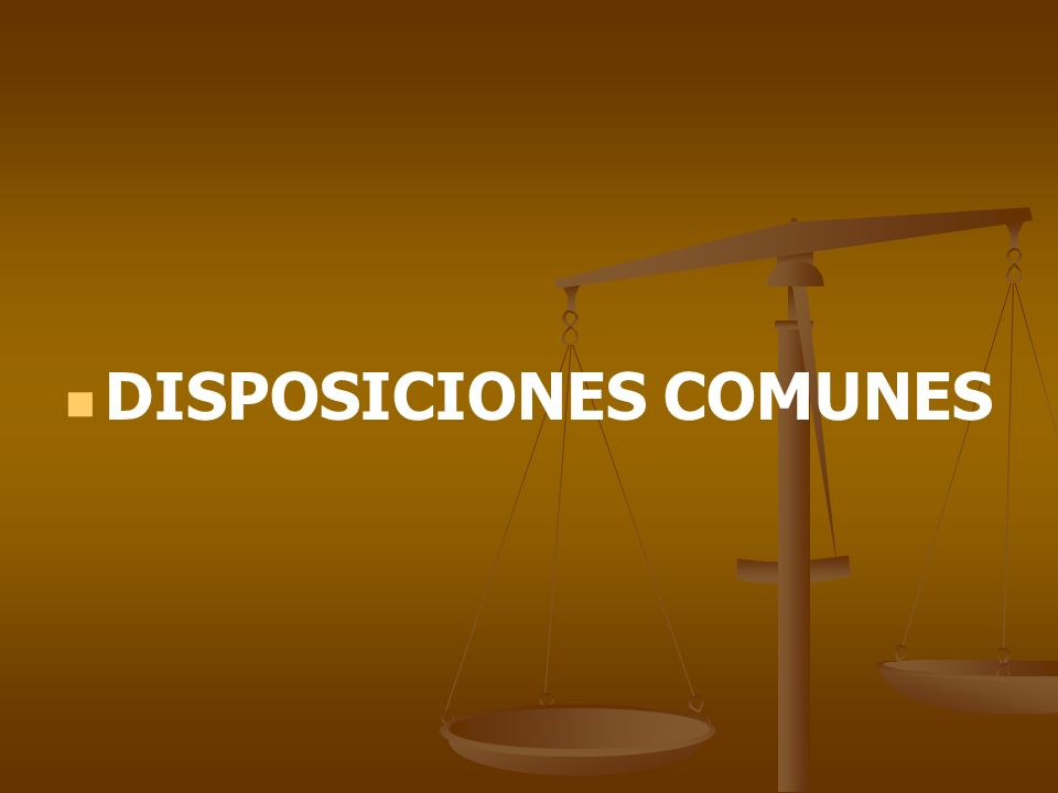 DISPOSICIONES COMUNES