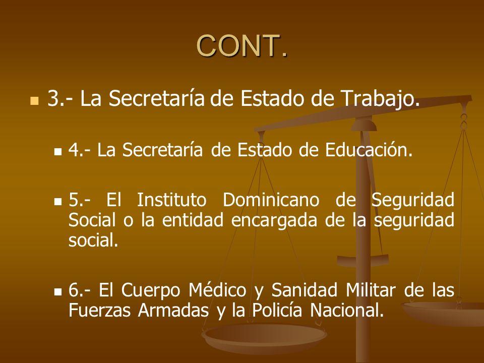 CONT. 3.- La Secretaría de Estado de Trabajo.