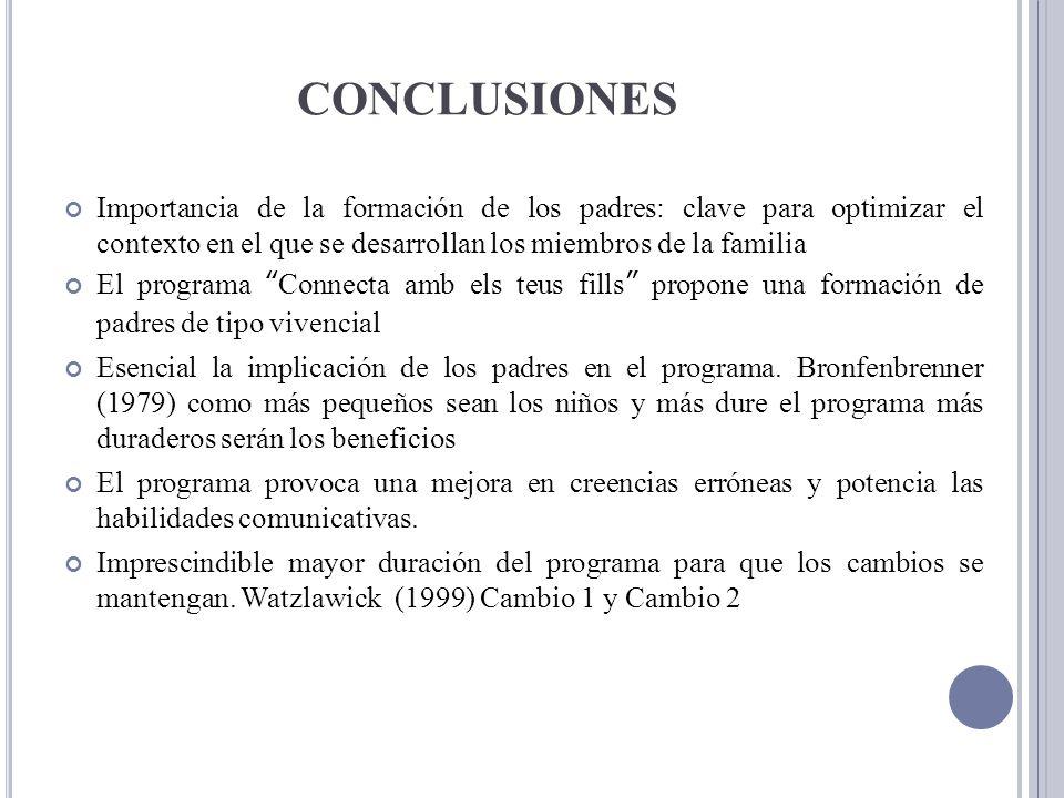 CONCLUSIONES Importancia de la formación de los padres: clave para optimizar el contexto en el que se desarrollan los miembros de la familia.