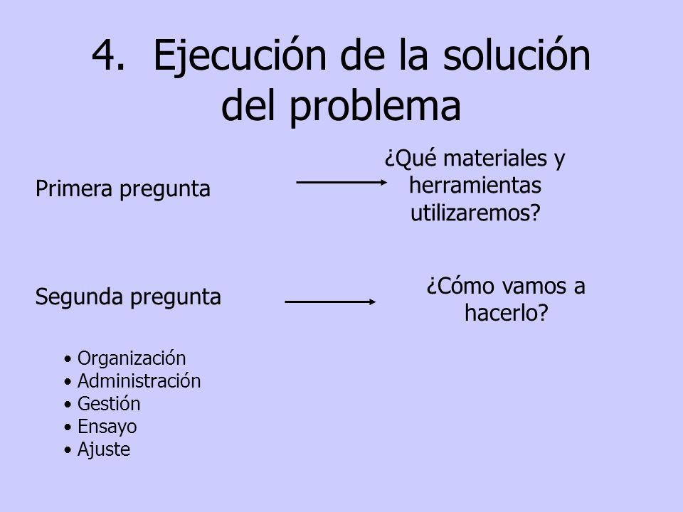 4. Ejecución de la solución del problema