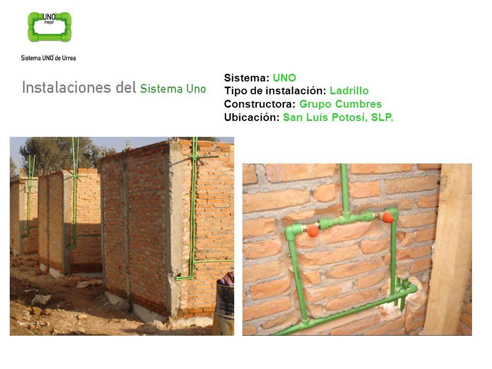 Sistema: UNOTipo de instalación: Ladrillo.Constructora: Grupo Cumbres.