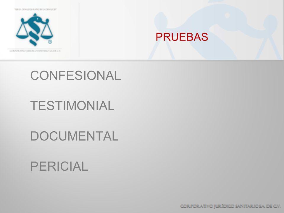 PRUEBAS CONFESIONAL TESTIMONIAL DOCUMENTAL PERICIAL