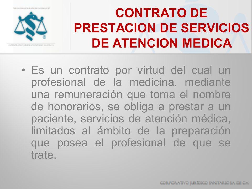 CONTRATO DE PRESTACION DE SERVICIOS DE ATENCION MEDICA