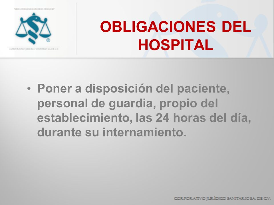 OBLIGACIONES DEL HOSPITAL
