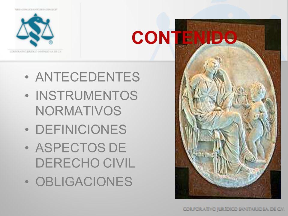 CONTENIDO ANTECEDENTES INSTRUMENTOS NORMATIVOS DEFINICIONES