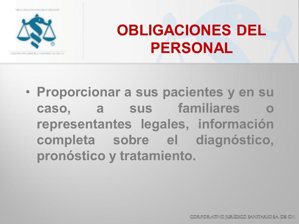 OBLIGACIONES DEL PERSONAL