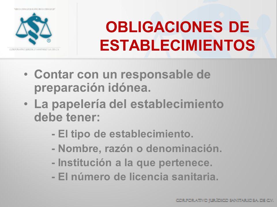 OBLIGACIONES DE ESTABLECIMIENTOS