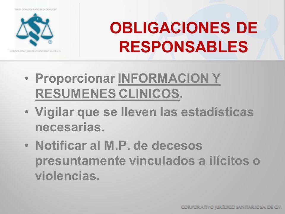 OBLIGACIONES DE RESPONSABLES