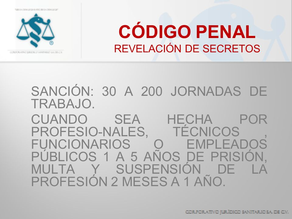 CÓDIGO PENAL REVELACIÓN DE SECRETOS